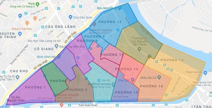 bản đồ văn phòng chia sẻ Quận 4
